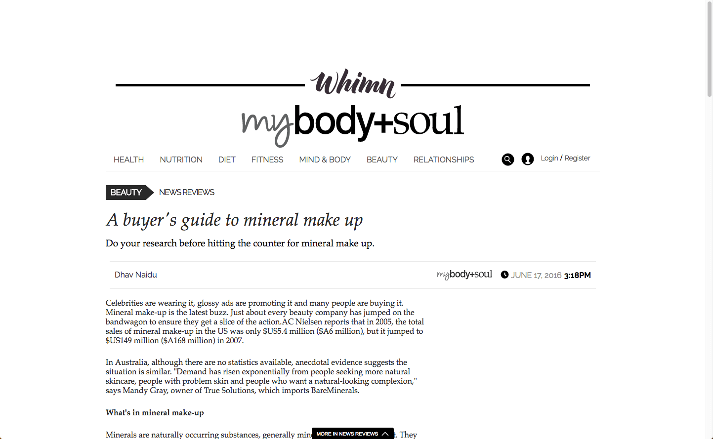 Body & Soul Musq Cosmetics