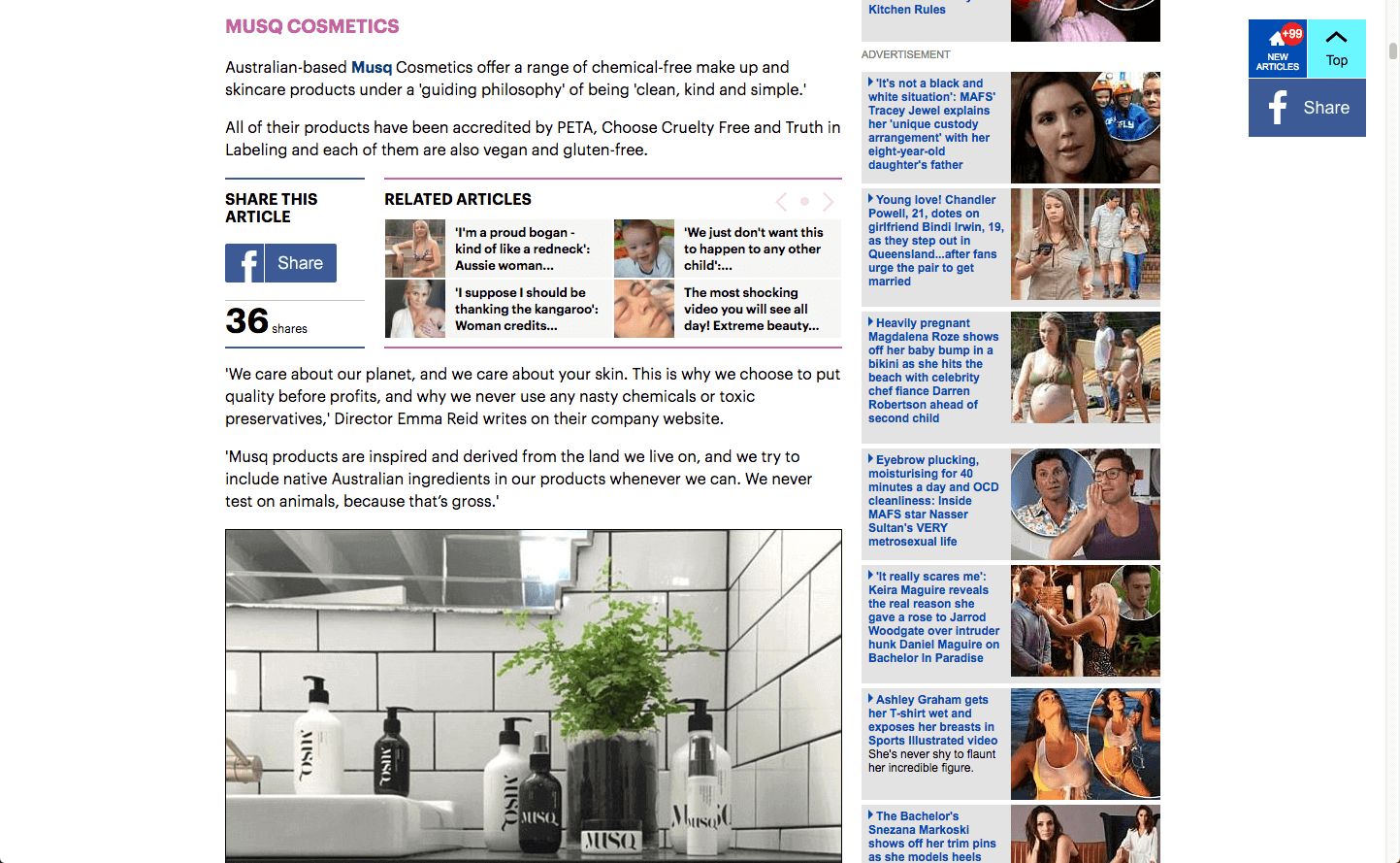 Daily Mail Musq Cosmetics