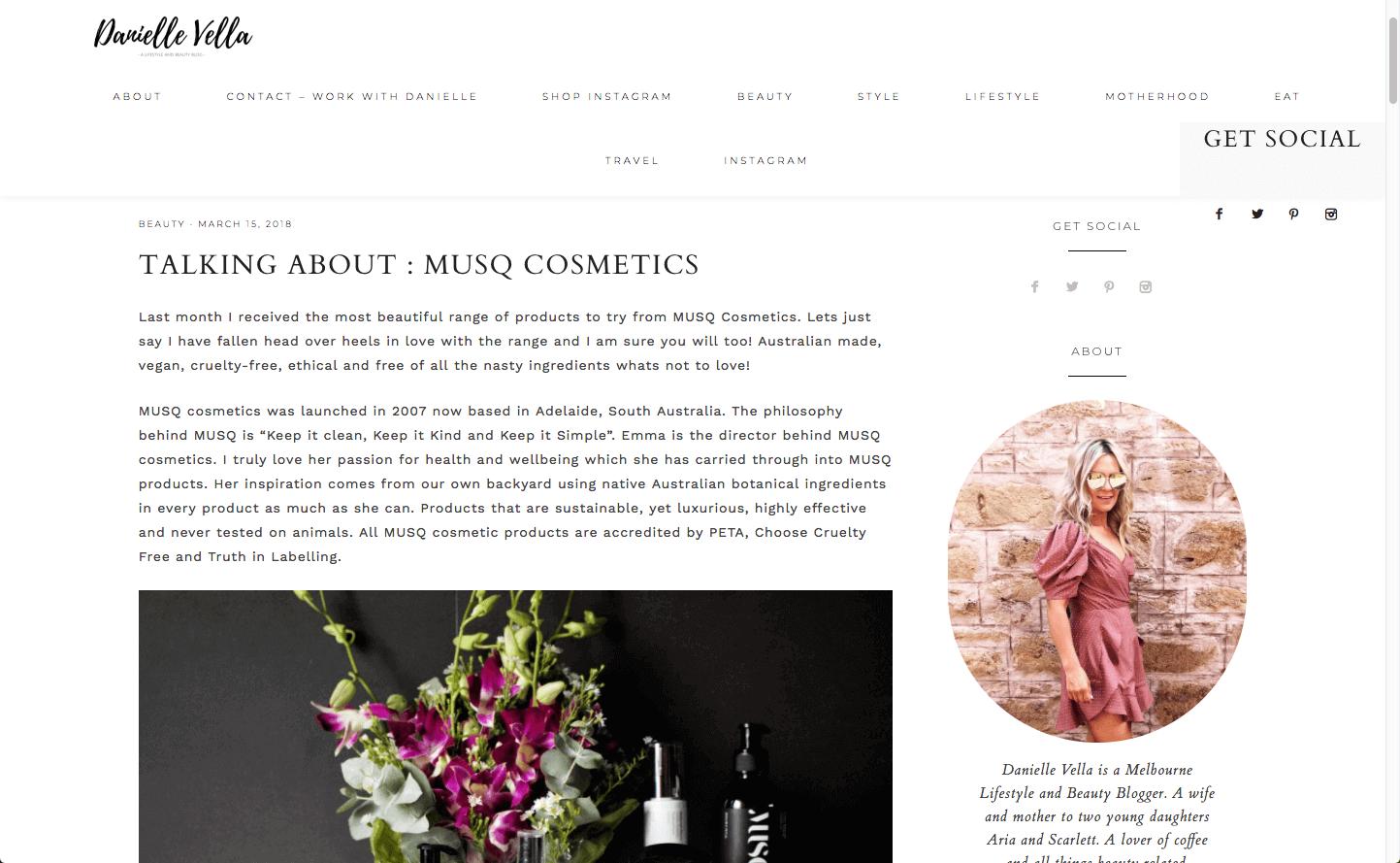 Danielle Vella Musq Cosmetics